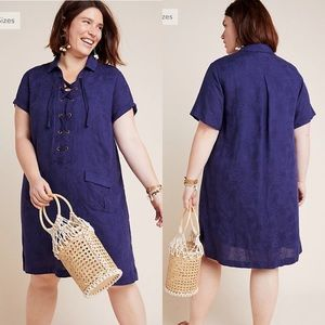Anthropologie Blue Finley lace up shirtdress